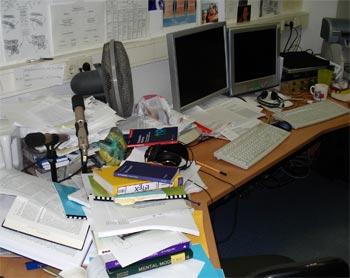 Büro am Abschlusstag der Dissertation