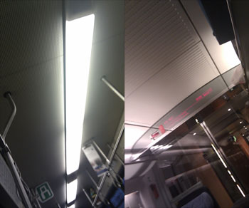 An der Decke öffentlicher Verkehrsmittel, zwei Perspektiven