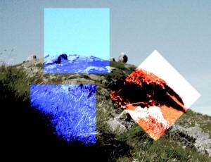 Drei Quadrate und ein paar Steine im Hinergrund